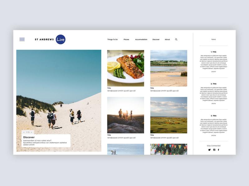 St Andrews Live tourism directory listing directory website web community ui branding design