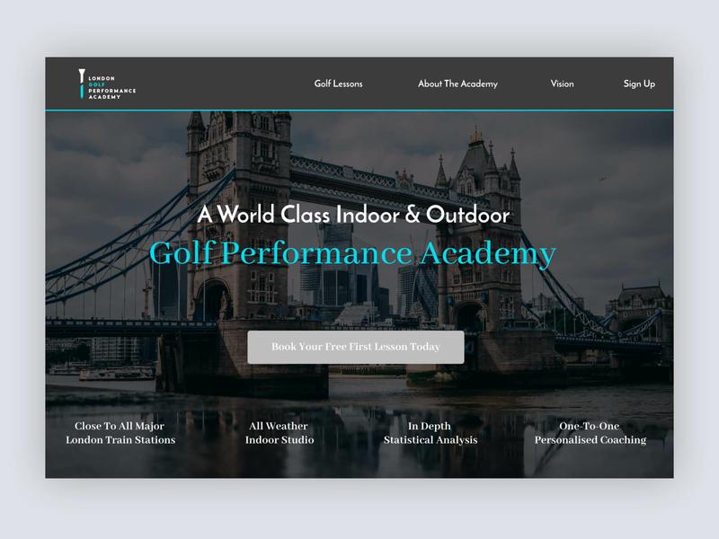 London Golf Performance Academy community web website ux ui sport branding design