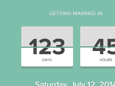 Getting Married In married marriage countdown flat green
