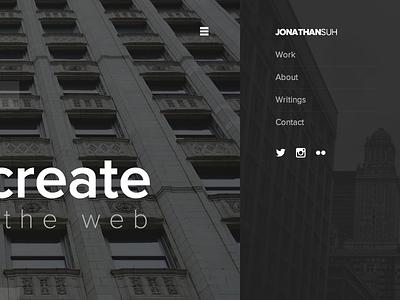 Slide out navigation menu menu website navigation css3 architecture typography photography