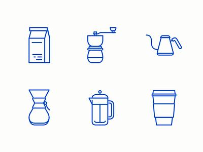Coffee Icons grinder chemex aeropress icon coffee