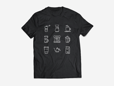 Coffee Icons - Updated + T-Shirt kettle over pour starbucks press french espresso drip cup chemex grinder coffee