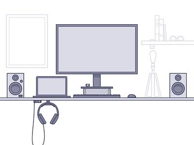 Desk Illustration (WIP) headphones macbook speakers desk