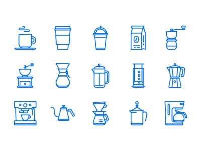 Coffee Icons - Updated II espresso pot kettle drip moka press french aeropress chemex grinder beans coffee