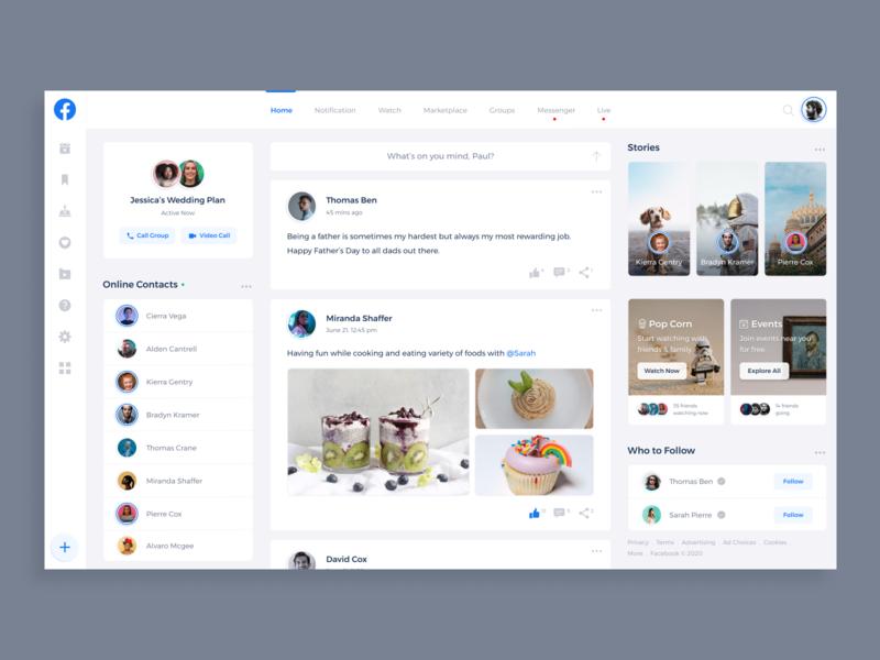 Facebook Redesign Concept application app website design flat clean creative design minimalistic facebook concept design interface ui ux product page web design