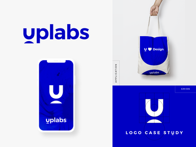 Uplabs Logo Case Study (Behance) icon flat creative clean graphic  design behance logo case study logo application brand design logo grids blue uplabs logo redesign brand identity branding