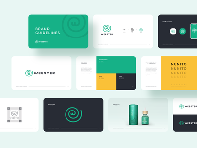 WEESTER Brand Guidelines hemp oil logotype grid logo brand guide dark logo print flat hemp logo brand design creative clean colorful typography packaging design green w logo spiral logo logodesign brand guidelines branding