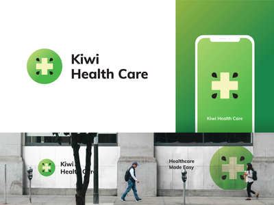 Kiwi Health Care Logo business card design logo guidelines app icon green logo plus sign logo design branding clean kiwi logo health logo healthcare logo logo design icon graphic  design logo branding