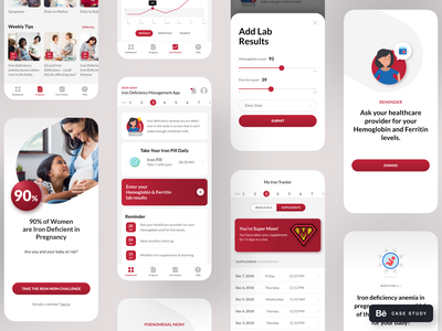 IronMom Mobile App - Behance Case Study case study behance visual design persona wireframes user interface user experience neat product design uxdesign uidesign ui mobile application health app uxui mobile ui mobile app design mobile