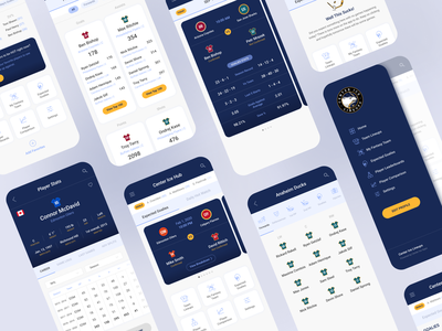 CIL - Mobile App, Website, and Branding mobile experience ux ui blue clean player statistics ice hockey sports user experience user interface ui mobile app mobile application ux ui mobile ux mobile ui android app mobile