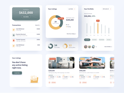 Equity Product Design Elements offers products portfolio listings wallet progress bars product designer house product page blockchain home equity graph component design uiux product ux product design elements equity application design product product design