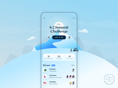 Mountaineer App Screen - K2 Summit Challenge product ui product designer ux research mountain snow challenge blue tribute ali sadpara pakistan k2 mobile app mountaineer app concept design uidesign uiux mobile product mobile ux mobile ui mobile