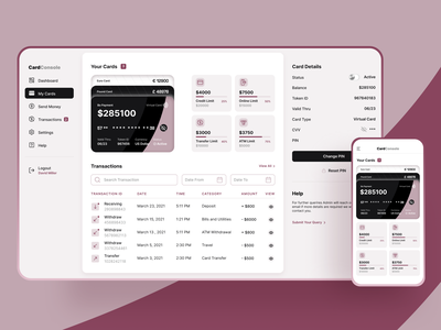 Fintech Responsive Dashboard Design icon transfer clean user research user experience user interface payments banking card ui fintech dashboard design uiux product desginer product ux product ui product dashboard product design product