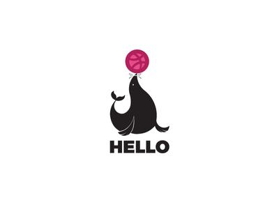 Hello Dribbble Logo typogaphy print animal branding abstact pakistan hello dribble invite dribbble logo design concept logo design golden ratio character vector icon graphic  design creative illustration design logo