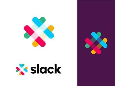 My shot on the Slack logo app colorful rebound heart slack abstract clean logo branding graphic  design creative design