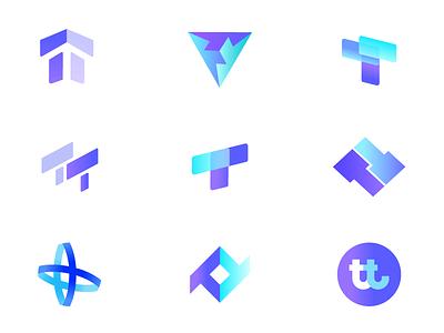 TT Logo Exploration abstract blockchain block arrow blue web typography tt t colorful vector gradient latest flat icon logo graphic  design creative branding design
