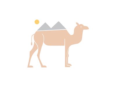 Camel + Pyramids of Giza + Sun design creative graphic  design logo illustration abstract clean flat vector egypt camel pyramids of giza sun