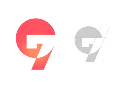 97 Logo branding negativespace unique graphs vector 97 gradient numbers typography icon flat clean abstract logo creative graphic  design design