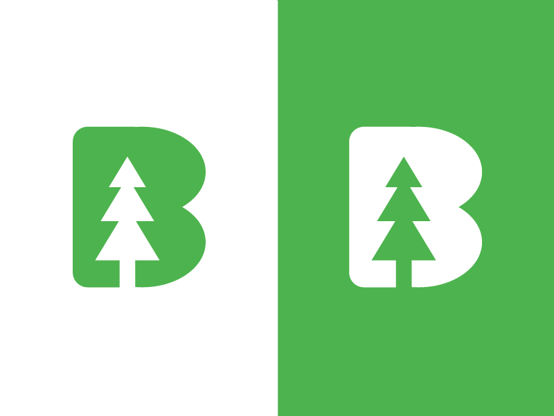 B + Pine Tree + Arrow Up typography green up arrow b pine tree tree flat clean logo graphic  design branding creative design