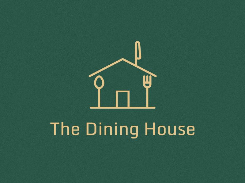 The Dining House Logo dining green knife spoon fork food restaurant house illustration flat clean logo graphic  design branding creative design