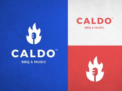 CALDO Logo restaurant music abstract negative space logo clean graphic  design guitar fire bbq mic logo design