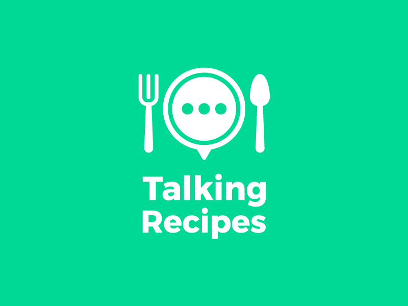 Talking Recipes Logo character creative clean graphic design icon bubble chief food green spoon fork app recipes talking branding logo