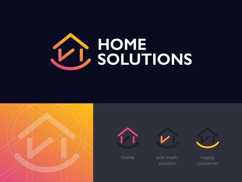 Home Solutions Logo qatar creative branding flat clean abstract graphic  design orange grids solutions mark tick design consumer customer home logo