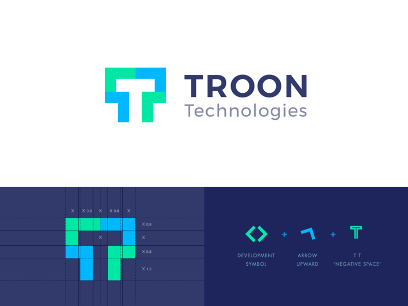 Troon Technologies Logo logo technology logo online pakistan canada latest creative technology t arrow web blockchain development company negative space logo abstract icon typography flat graphic  design branding