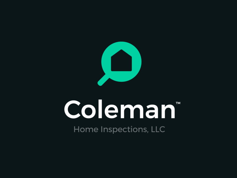 Coleman Home Inspections Logo Option1 print simple icon microscope services inspection home canada green typography negative space logo character illustration flat abstract creative design graphic  design logo branding