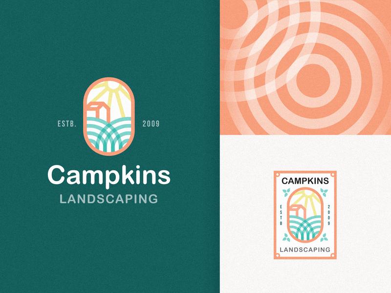 Campkins Landscaping Logo options design gradient icon badge logo business card flat graphic  design geometric design colorful logo illustration design minimalist logo sun logo home logo monogram abstract clean creative logo branding