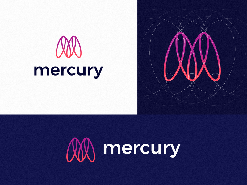 Mercury Logo technology logo icon design graphic  design spaceship m logo flat clean abstract creative gradient geometric design grids orbit logo mercury logo logo proposal logo redesign logo branding