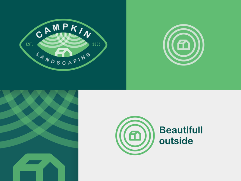 Campkin Landscaping Final Logo canada monochromatic monogram logo gradient logo presentation circle logo badge logo green logo illustration creative clean icon logo pattern leaf logo house logo landscaping logo graphic  design design logo branding