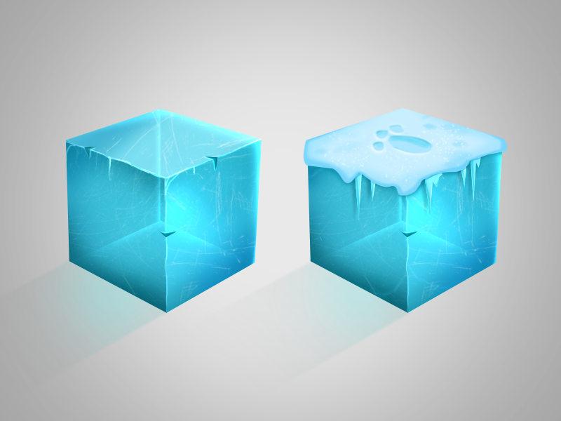 Hand-painted ice texture ice cube illustration photoshop digital painting digital 2d study material texture handpainted