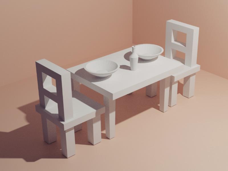 Dinning Table - daily modeling practice tutorial 3dmodel asset study digital3d digitalart gabbittmedia lowpoly3d bottle wine chair dinningtable diningroom gameassets dailypractice 3dmodeling blender