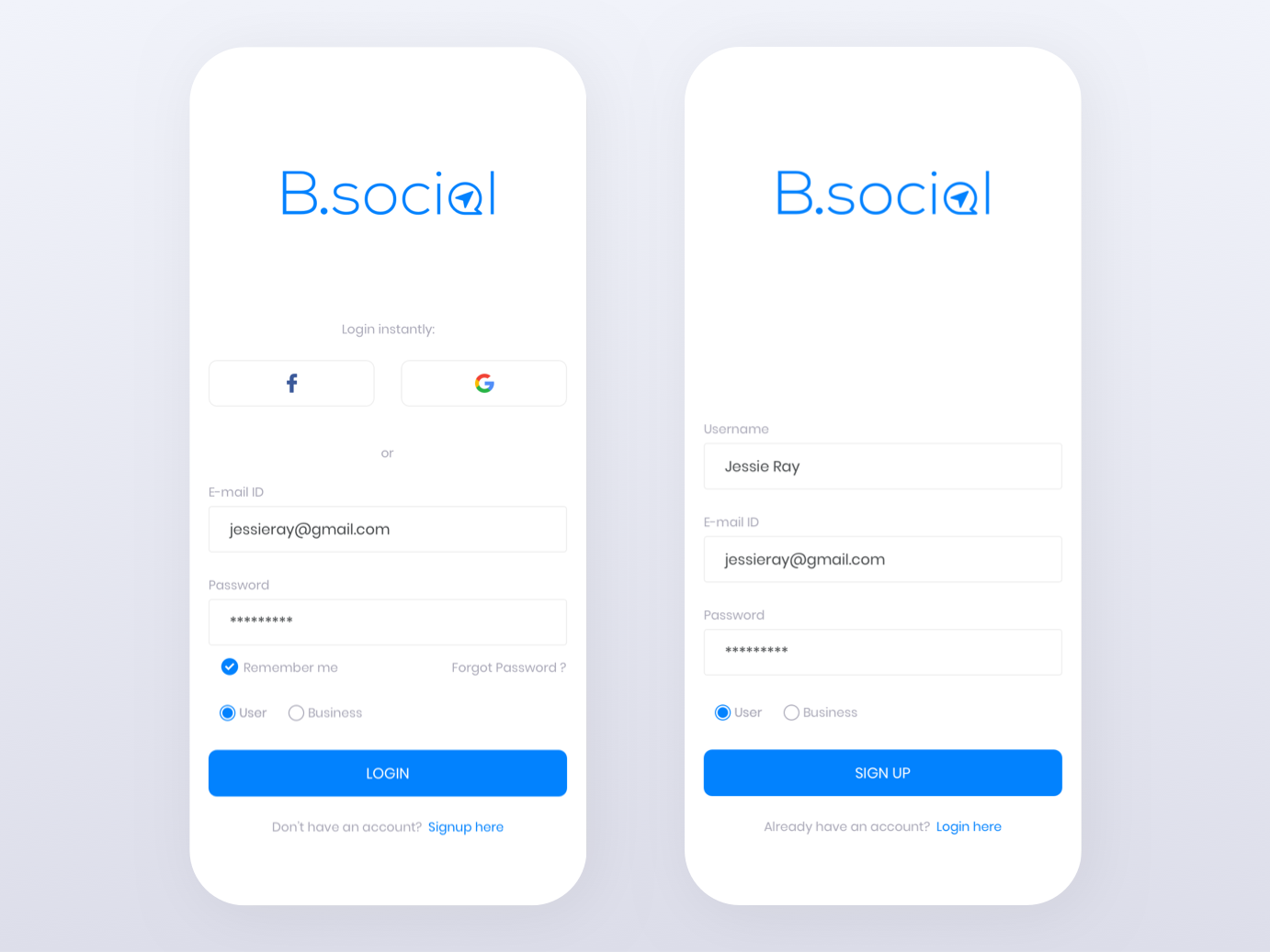 Bsocial App user login signup screen login screen social ios app interface app ux design mobile app design ui design mobile app