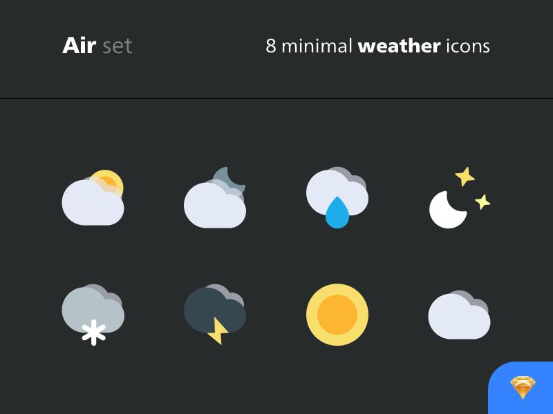 "Introducing the free ""Air"" set → 8 minimal weather icons dark light minimal sketchapp cloud sketch weather freebie icons"