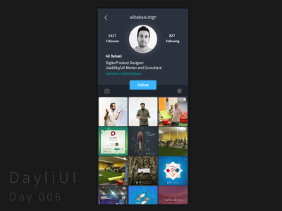 Instagram Profile Page Redesign black dark challenge redesign instagram profile glow iphone ios minimal dayliui