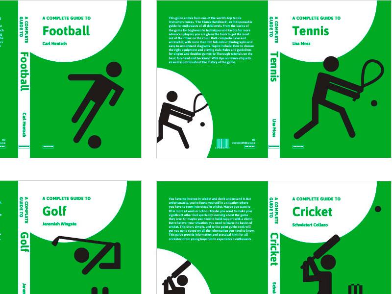 Sports non-fiction series book cover design cricket golf tennis football pictograms pictogram sports book cover design books book