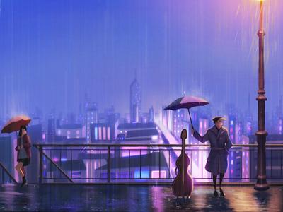 The patter street lamp umbrella rains night cello city