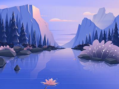 Hello dribbble! mountain maple leaf water dusk illustration