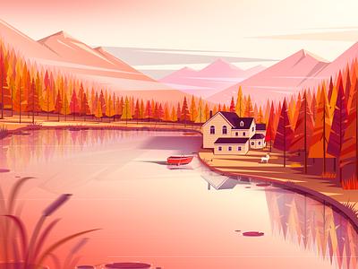 Autumn landscape dusk boat house falls fall colors fall mountain water design illustration