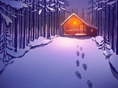 Home on a snowy night the scenery ui winter cabin tree flat home night illustration