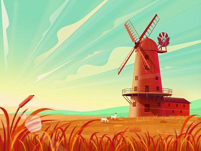 Windmills town sheep cloud skyline sky vector fall ui illustration