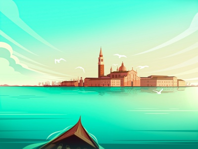 To Venice together seagulls waves sunny cloud city sea tourism shoes ship boat illustration