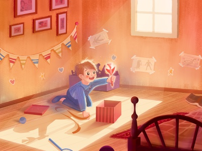 A child opening a gift holiday boy flat illustration transformation ball sun warm lovely child gift