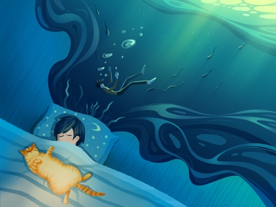 daily sea water wave light coral bubble drowning quilt bed cat sleep dream
