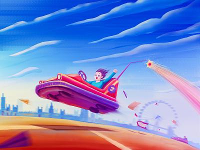 Bumper cars! book ferris whee spark clouds children amusement park illustration