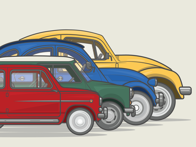 Classic European City Cars | Flat Vector Graphics