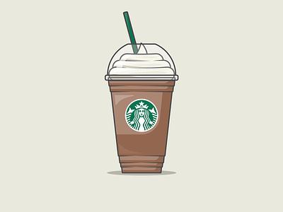Starbucks Coffee   Mocha Frappuccino to go cup coffee iced frappuccino starbucks branding vector illustration design graphic design adobe illustrator