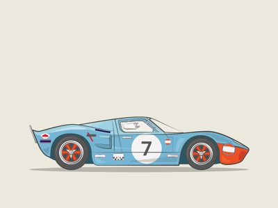 Classic Cars | 1964 Ford GT40 le mans 24 hour ford gt 40 gt40 gt ford classic car vector illustration design graphic design adobe illustrator volkswagen branding adobe photoshop movie